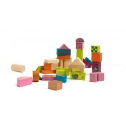 Oops Drewniane Klocki 50 szt. Happy Building Blocks