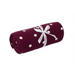Le Pampuch Kocyk bawełniany kropki bordowy