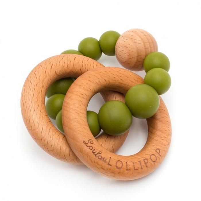 LouLou Lollipop Gryzak drewniany z koralikami Bubble Olive