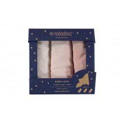 Otulacz Muślinowy Nobodinoz baby love pink 3-pack