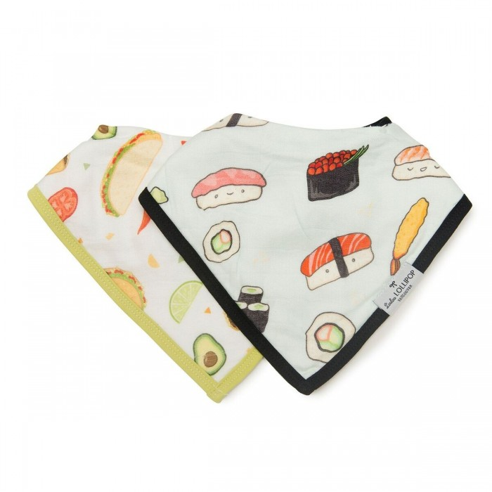 LouLou Lollipop Muślinowy śliniak set 2 szt. Sushi